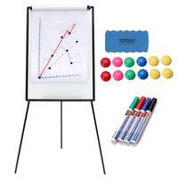 Yorbay 2-in-1 Flipchart und Whiteboard in 70x100 cm mit Dreibein Ständer Magnettafel magnetische Whiteboards Standwhiteboard Stand whiteborad white board Tafel