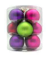 Weihnachtskugeln Glas 8cm, 12 Stück, Farbe:Happy Xmas ( lila / grün / rot / fuchsia / magenta )