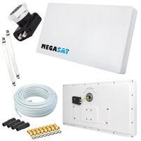 Megasat Flachantenne PROFI Line H30 D2 Twin inkl. Fensterhalterung + 20m Kabel + 2x Fensterdurchführung. Neueste Generation mit besten Empfangswerten für HD und SD TV (einfache und stabile Montage)
