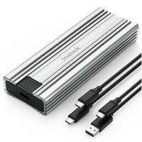 Inateck NVMe M.2 Festplattengehäuse mit 10 Gbps Übertragung, unterstützt M.2 SATA und NVMe SSD (2242, 2260, 2280) mit USB A zu C und USB C zu C Kabel, werkzeuglos, FE2025