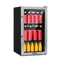 Klarstein Beersafe 3XL Kühlschrank Getränkekühlschrank , 98 Liter ,  , 83 cm Höhe , 4  Metall-Einlegeböden , 7 Temperatur-Stufen , Innentemperatur von 0 bis 10 °C , doppelt isolierte Glastür , freistehend , Edelstahlfront