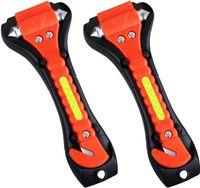 2 xAuto Notfall Hammer, Auto Sicherheitshammer mit Gurtschneider, Gurtmesser, Fahrzeugsicherheit Hammer, Notfallhammer für Auto, Bus