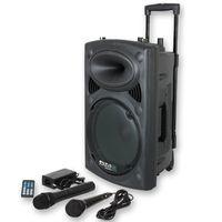 Ibiza Port8VHF-BT DJ PA Karaoke Anlage mobile PA Bluetooth Lautsprecherbox (Akku-Betrieb, Trolley, Mp3-fähige USB-SD-Slots, 200W RMS, Fernbedienung, 2 x Mikrofon) schwarz
