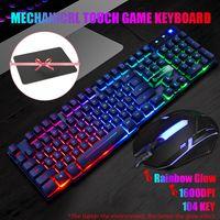 Kabelgebundene Tastatur beleuchtet, Gaming Tastatur mit RGB Hinterbeleuchtung Full-Size Englisch Layout PC Tastatur mit Maus und Mauspad für Büro/PC, Schwarz