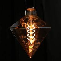 LED Vintage Edison Glühbirne E27,  4W Retro Glühlampe Dekorative Spirale Diamant Lampe, Warmweiß Golden Antike Lampen für Nostalgie und Retro Beleuchtung im Haus Café Bar Restaurant, nicht dimmbar
