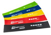 Hop-Sport Fitnessbänder HS-L650RL Wiederstandsbänder 600x50mm 5er Set Gymnastikband, Trainingsband für Muskelaufbau Pilates Yoga usw.