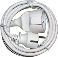 Schutzkontaktverlängerung Schukostecker/Kupplung L.3m H05VV-F 3x1,5mm2 weiß