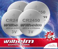 4 x CR2450 WILHELM Lithium Knopfzelle 3V 600mAh ø24,5x3,0mm Batterie DL2450