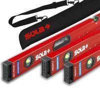 SOLA Bag-Set Alu-Magnet-Wasserwaage RedM 3 60cm, 80cm, Big RedM 120cm + Tasche