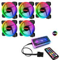 5x RGB Gehaeuseluefter 120mm PC Gehäuselüfter mit 7 Farben LED Gehäuselüfter Leise PC Hülle Lüfter LED Fernbedienung Einstellbar