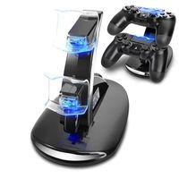 Maju Ladestation Ladegerät für PS4 LED Beleuchtung Controller Halter Halterung Ständer (Schwarz, PS4 Slim&Pro)
