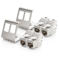 deleyCON 4x CAT6a Keystone Jack Modul mit 2x 2-Port Hutschienenadapter als Set Metall STP Schirmung RJ45 Buchse 10 Gbit/s Netzwerk Snap-In Montage für 35mm Hutschienen