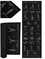 Yoga-Fitnessmatte mit Trainingsplan für Pilates Fitness & Gymnastik rutschfest Schwarz 173x61cm 8693
