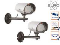 2er Set Kamera Attrappe Blink LED Aluminium Fake Dummy Innen & Außen Überwachung