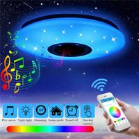 Dimmbar 60W RGB LED Deckenleuchte Lampe Modern LED Sternen bluetooth mit Lautsprecher@#