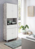 Wilmes Hochschrank 4-trg. mit 1 offenen Fach und 1 großen Schublade, Beton / Weiß Melamin Nachbildung