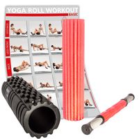 Faszien Set 3in1 inkl. Workout I Faszienrolle Massagerolle Massagestick Yogarolle