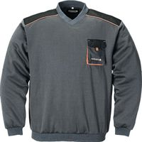 Herrenpullover Gr.XXXL dunkelgrau/schwarz/orange 100%CO V-Ausschnitt 320g/m2