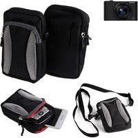 Für Sony Cyber-shot DSC-WX500 Gürtel Tasche Holster Umhänge Tasche Fototasche Schutz Hülle für Sony Cyber-shot DSC-WX500, schwarz-grau +