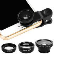 3 in 1 Handy Fischauge Super Weitwinkel Makro Kamera Objektiv Kit mit Clip Schwarz