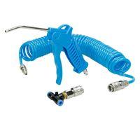 ECD Germany 3 Teilig Druckluft-Set Blau mit 5m Spiralschlauch T-St?ck Schnellkuplung Ausblaseset Druckluftpistole Luftpistole Ausblaspistole Druckluftschlauch Schlauch