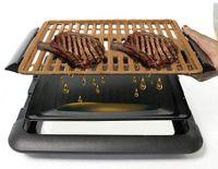 Smokefree Grill Gitter Nicht Rauchen Gegrilltes Fleisch und Gemüse Set mit Extra Teller zum Kochen Küche Barbecue Elektrogrills