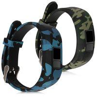 kwmobile Armband kompatibel mit Garmin Vivofit jr. / jr. 2 - 2x Silikon Fitnesstracker Sportarmband - Camouflage Schwarz Hellgrün Dunkelgrün