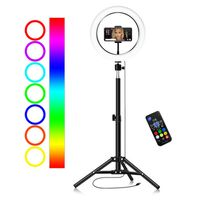 10-Zoll- / 26-cm RGB Ringlicht LED Fotografie Lichter Einfuelllicht Dimmbar 3500K-6500K USB-Stromversorgung mit Kugelkopfadapter Telefonhalter 55-cm-Bodenstativstaender-Fernbedienung fuer Live-Streaming Selfie-Gesichts-Make-up Foto Licht