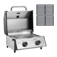 TAINO COMPACT 2.0S Tischgrill Set mit Gusseisen-Rost Camping-Grill Gas-Grill BBQ Edelstahl