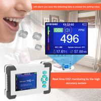 CO2-Messgerät KKmoon Kohlendioxid Detektor mit Akku CO2 Meter Tester für Luftqualitäts Detektor Monitor mit Aufbewahrungskoffer Basic Version Weiß
