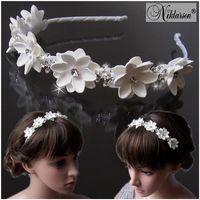 Haarreif Diadem Kommunion Blumenmädchen Braut Blumen weiß Mädchen Damen Kopfschmuck H5060