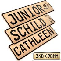 1x Kennzeichen Beige Junior Bobby Car Kettcar Wunschtext FUN Kennzeichen Funschild