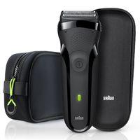 Braun Series 3 300s wiederaufladbarer Elektrorasierer mit Neopren Kulturtasche und Reise-Etui, schwarz