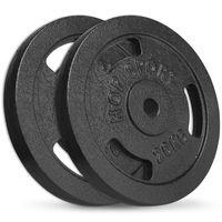 Hop-Sport 40 kg Hantelscheiben 2x20 kg Ø30mm Gusseisen Gewichte Hanteln Set