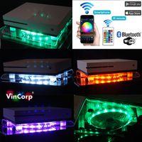 Wifi Bluetooth XBOX One , S , X , 360 USB Design Ständer + Lüfter / Kühler in RGB Multicolor + Fernbedienung LED Stand Unterlage