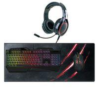 Gaming Set LED Tastatur, Maus, Headset, Mauspad Beleuchtet - Computer PC Xbox PS