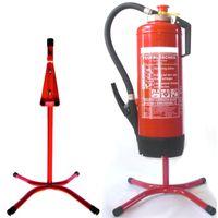 Feuerlöscher-Ständer gerade Rohrstahl in rot mit X - Fuß