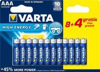 "VARTA Alkaline Batterie ""High Energy"" Micro AAA 8+4 GRATIS (12 Batterien)"