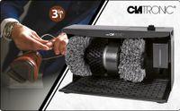 Clatronic Schuhputzmaschine SPM 3754, 3 in 1: Reinigen/Pflegen/Polieren, Schuhcremespender mit Edelstahl-Kugelventil, 1750 Umdrehungen pro Minute, Anthrazit