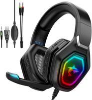 J-ANKKA Gaming Headset für PS4 Xbox One PC , Gaming Kopfhörer mit Mikrofon, RGB Licht, Over-Ear Verdrahtet Gaming Headsets mit Surround Sound