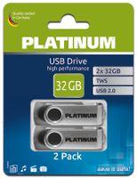 Platinum TWS USB-Stick 32 GB Doppel-Pack USB 2.0 USB-Flash-Laufwerk - 2er Pack Speicher-Stick mit 64 GB Gesamtspeicher mit Öse zur Befestigung als Schlüsselanhänger