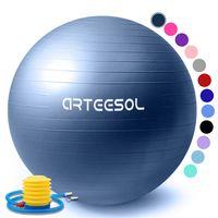 arteesol Gymnastikball 65 cm Fitnessball Sitzball Pilates Anti Burst Yoga Sportball Mit Luftpumpe, Navy Blau