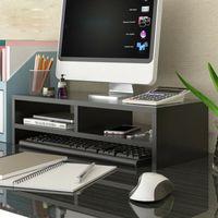 Monitorerhöhung Bildschirmerhöhung 2 Schicht Holz Schwarz Monitorständer Holz PC Ständer