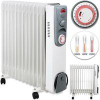 Ölradiator Elektroheizung Öl Radiator Heizer 3 Heizstufen bis 2500 Watt - 24h Timer - weiß - Kabelaufwicklung - 4 Räder - integrierter Griff, Variante:13 Rippen