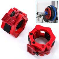 Hantelstangen Hantelverschluss, 1 Paar Gewichtheben Langhantel Clamp Collar Klemmen für Hantelstange Langhantel 50mm(rot)