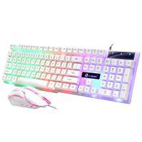 LED Gaming Weiß Tastatur und Maus USB Keyboard Mouse Set Beleuchtete Mechanisch für PC Laptop MAC/WINDOWS Computer