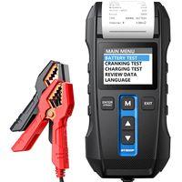 TOPDON Batterietester kfz BT300P 12V 24V 100-2000CCA Blei-Säure-Batterie KFZ-Batterietester Generatortester Lasttester mit integriertem Thermodrucker funkenfreie Metallklemmen automatischer Verpolungsschutz