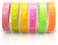 UniPlus kompatibel Prägeband für Dymo Omega Junior Prägeetiketten 9mm 3D Langlebige Kunststoff Vinyl-Prägeband für Dymo Junior Omega (6 Rollen, Gelb, Pink, Olivgrün, Fluoreszierendes Pink/Orange/Grün)