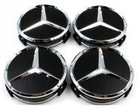 Felgendeckel Mercedes Benz 4 Stück 75mm Schwarz Ersatzteil Nabendeckel Radnabenkappen für Mercedes-Benz Felgenkappen Nabenkappen Wheel Caps Radnabenabdeckung Black