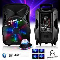 "Lautsprechere LIGHT PARTY PARTY Mobile Sound-800W 15 ""RGB-LEDs USB / BT / SD / FM / PC + RounDiams UFO"